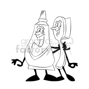 mo the toothpaste cartoon character hugging a brush black white clipart. Royalty-free image # 397702