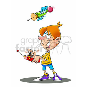 brad the cartoon character playing with radio controlled satellite clipart. Royalty-free image # 397712