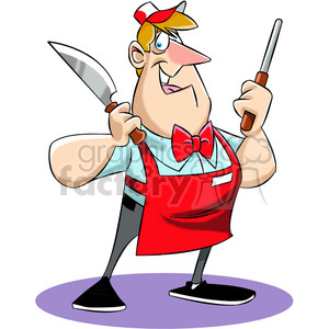 Chuck the cartoon butcher holding a knife clipart. Royalty-free image # 397762