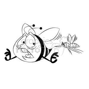 bob the bee being chased by mosquito black white clipart. Commercial use image # 397812