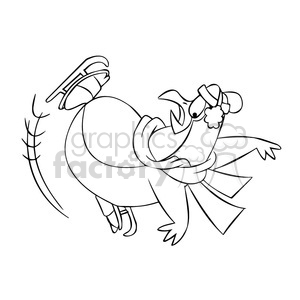 sal the cartoon penguin character falling while ice skating black white clipart. Royalty-free image # 397822
