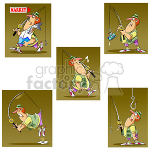 stan the cartoon fishing character image set clipart. Commercial use image # 397832