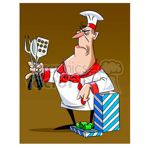 cartoon chef receiving gift clipart. Commercial use image # 397842