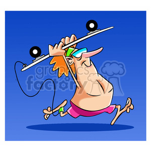 tom the cartoon surfer character running with longboard clipart. Royalty-free image # 397852