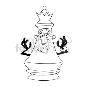 cartoon chess piece character queen black white clipart. Royalty-free image # 397872