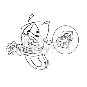 woody the cartoon pencil character running from a pencil sharpener black white clipart. Royalty-free image # 397892