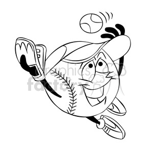 cartoon baseball mascot speedy catching a ball black and white clipart. Royalty-free image # 397902