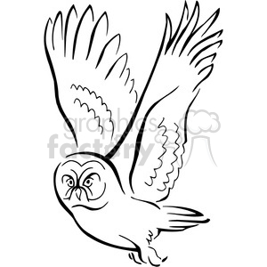 black and white owl illustration clipart. Royalty-free image # 129460
