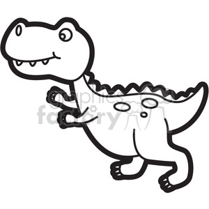 trex dinosaur cartoon in black and white clipart. Commercial use image # 397940