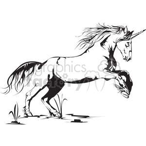 unicorn jumping in black and white clipart. Commercial use image # 398010