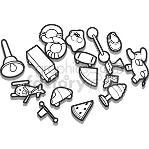 outline of toys illustration graphic clipart. Royalty-free image # 398030