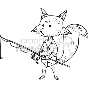 fishing fox vector illustration clipart. Commercial use image # 398080