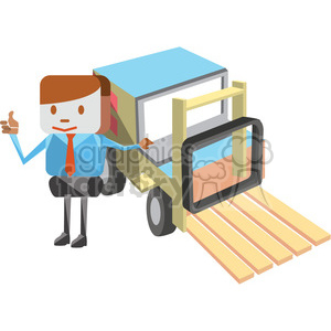 cartoon salesman next to a forklift clipart. Royalty-free image # 398260