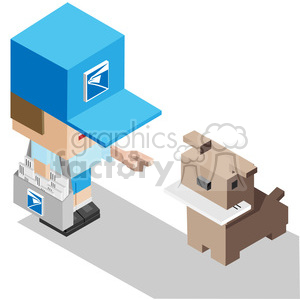 stamp postal mail delivery email message envelope postal+man mailman dog isometric symmetrical rg
