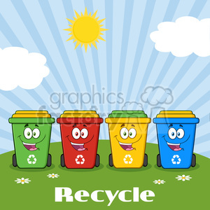 royalty free rf clipart illustration four color recycle bins cartoon character on a sunny hill with text recycle vector illustration isolated on white background clipart. Commercial use image # 398881