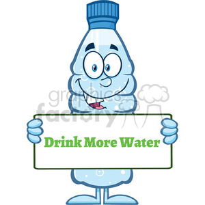 royalty free rf clipart illustration water plastic bottle cartoon mascot character holding a sign with text vector illustration isolated on white clipart. Commercial use image # 398910