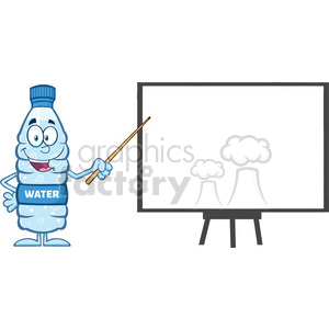 royalty free rf clipart illustration talking water plastic bottle cartoon mascot character using a pointer stick by a presentation board vector illustration isolated on white clipart. Commercial use image # 398928