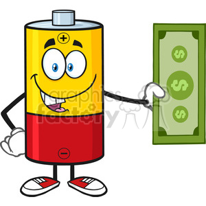royalty free rf clipart illustration battery cartoon mascot character holding a dollar bill vector illustration isolated on white clipart. Royalty-free image # 398938