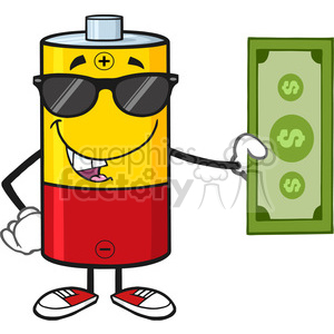 royalty free rf clipart illustration battery cartoon mascot character with sunglasses holding a dollar bill vector illustration isolated on white clipart. Commercial use image # 398958