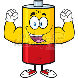 royalty free rf clipart illustration happy battery cartoon mascot character flexing vector illustration isolated on white clipart. Royalty-free image # 398966