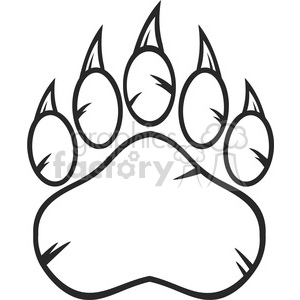 royalty free rf clipart illustration black and white bear paw with claws vector illustration isolated on white background clipart. Royalty-free image # 398976