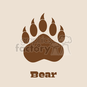 royalty free rf clipart illustration brown bear paw with claws vector illustration background and text clipart. Royalty-free image # 398986