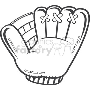black and white baseball glove illustration clipart. Royalty-free image # 398996