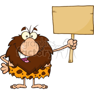 9923 happy male caveman cartoon mascot character holding a wooden board vector illustration clipart. Royalty-free image # 399006