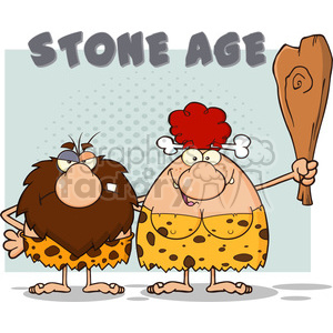 caveman couple cartoon mascot characters with red hair woman holding a club and text stone age vector illustration with text stone age clipart. Royalty-free image # 399016