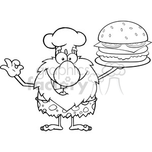 black and white chef male caveman cartoon mascot character holding a big burger and gesturing ok vector illustration clipart. Royalty-free image # 399026