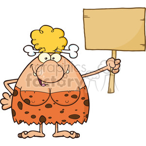 9979 happy cave woman cartoon mascot character holding a wooden board vector illustration clipart. Royalty-free image # 399046