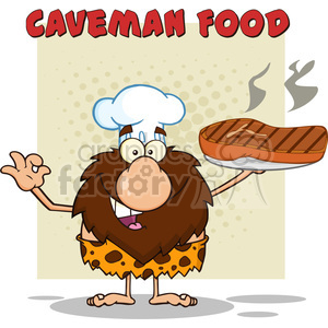chef male caveman cartoon mascot character holding a big steak and gesturing ok vector illustration with text caveman food clipart. Royalty-free image # 399066