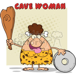 happy brunette cave woman cartoon mascot character holding a club and showing whell vector illustration with text cave woman clipart. Royalty-free image # 399106