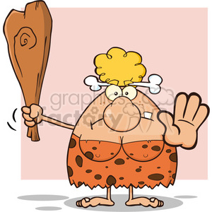 angry cave woman cartoon mascot character gesturing and standing with a spear vector illustration clipart. Royalty-free image # 399116