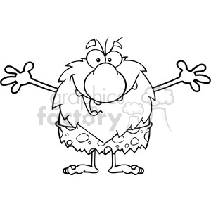 black and white smiling male caveman cartoon mascot character with open arms for a hug vector illustration