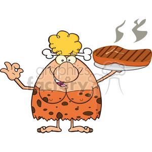 9968 chef cave woman cartoon mascot character holding up a platter with big grilled steak and gesturing ok vector illustration clipart. Royalty-free image # 399156