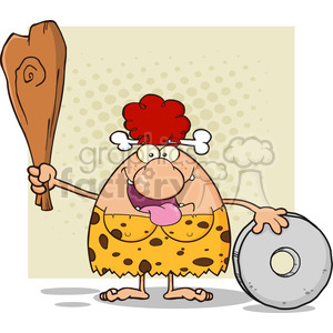 10100 happy red hair cave woman cartoon mascot character holding a club and showing whell vector illustration clipart. Commercial use image # 399196