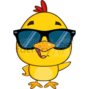 royalty free rf clipart illustration cute yellow chick cartoon character wearing sunglasses and waving vector illustration isolated on white clipart. Commercial use icon # 399206