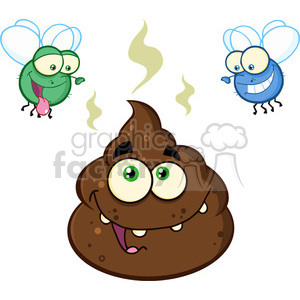 royalty free rf clipart illustration two flies hovering over pile of happy poop cartoon characters vector illustration isolated on white backgrond clipart. Commercial use image # 399226