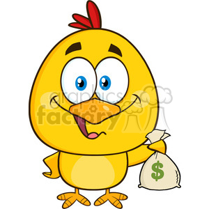 royalty free rf clipart illustration yellow chick cartoon character holding money bag vector illustration isolated on white clipart. Royalty-free image # 399236