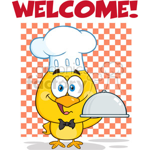 royalty free rf clipart illustration happy chef yellow chick cartoon character holding a cloche platter under welcome vector illustration isolated on white clipart. Commercial use image # 399246