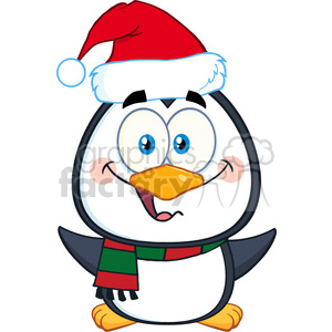 royalty free rf clipart illustration cute christmas penguin cartoon character with open wings vector illustration isolated on white clipart. Royalty-free image # 399266