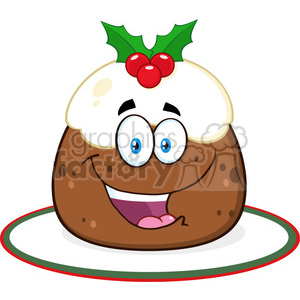 royalty free rf clipart illustration happy christmas pudding cartoon character with frosting and holly vector illustration isolated on white clipart. Royalty-free image # 399276