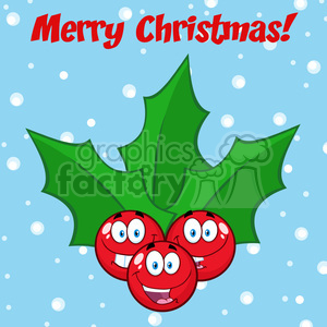royalty free rf clipart illustration happy christmas holly berries with leaves cartoon characters vector illustration greeting card clipart. Royalty-free image # 399286