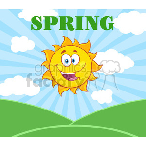 royalty free rf clipart illustration sunshine happy sun mascot cartoon character over landscape vector illustration with suburst background and text spring clipart. Royalty-free image # 399297