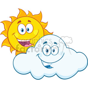 royalty free rf clipart illustration happy summer sun and smiling cloud mascot cartoon characters vector illustration isolated on white background clipart. Royalty-free image # 399307