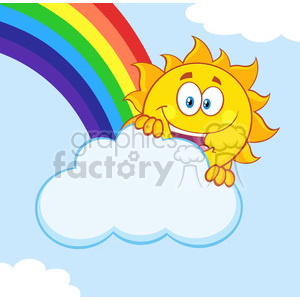 royalty free rf clipart illustration happy summer sun mascot cartoon character hiding behind cloud with rainbow vector illustration with background clipart. Royalty-free image # 399315