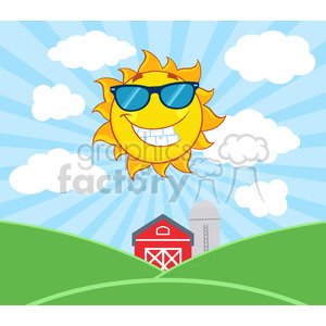 royalty free rf clipart illustration smiling sun mascot cartoon character with sunglasses vector illustration with farm barn and silo fields background clipart. Royalty-free image # 399325