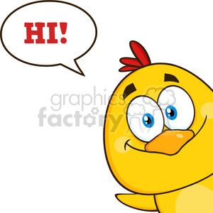 royalty free rf clipart illustration smiling yellow chick cartoon character peeking around a corner and saying hi vector illustration isolated on white