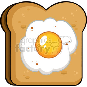 illustration cartoon toast bread slice with egg vector illustration isolated on white background clipart. Commercial use image # 399385